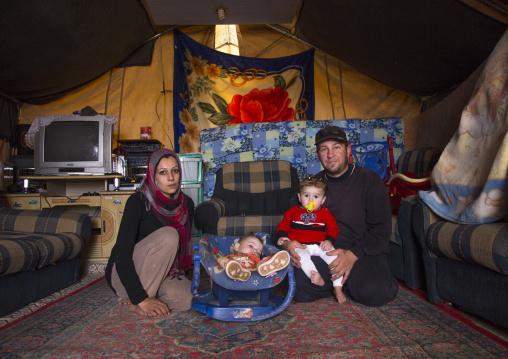 A Syrian Family Inside Her Tent In Qushtapa Refugee Camp, Erbil, Kurdistan, Iraq