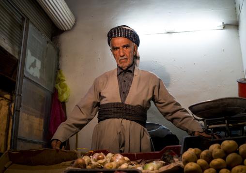 Old Man Selling Vegetables In The Bazaar, Suleymanyah, Kurdistan, Iraq