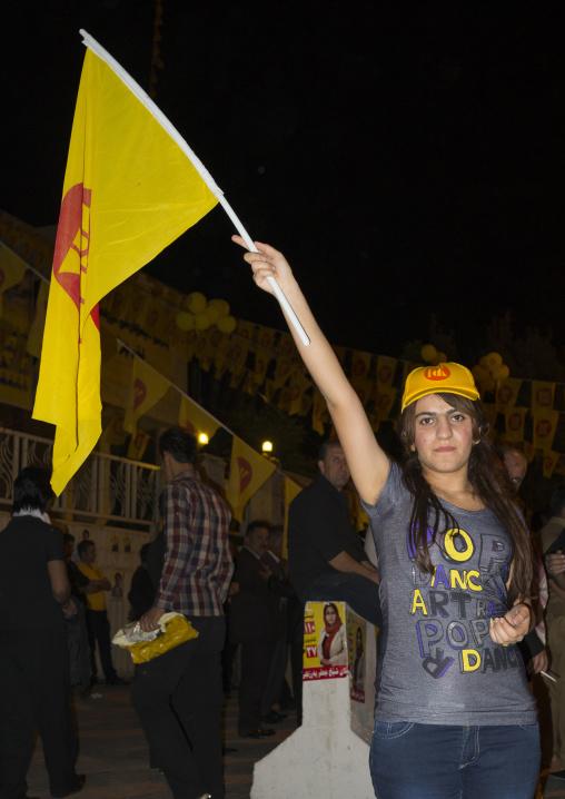 Girl Holding A Flag During A Kdp Meeting, Suleymanyah, Kurdistan, Iraq