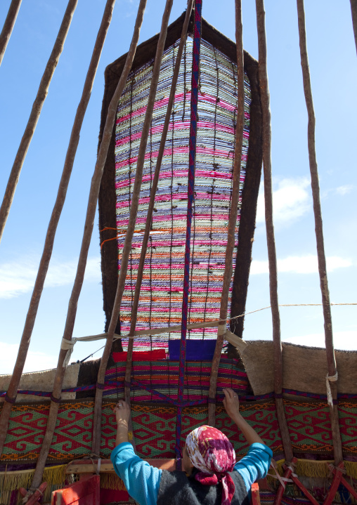 Woman Putting Up A Yurt, Saralasaz Jailoo, Kyrgyzstan
