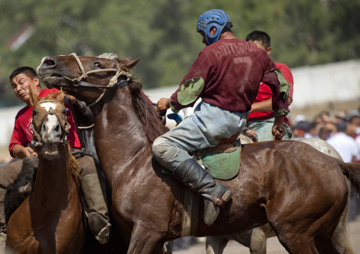 Men Competing In A Horse Game For National Day, Bishkek, Kyrgyzstan