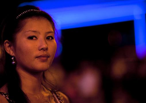 Young Woman In Bishkek At Night, Kyrgyzstan