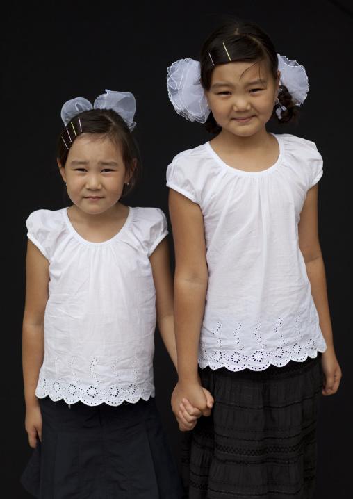 Two Cute Smiling Young Girls, Bishkek, Kyrgyzstan