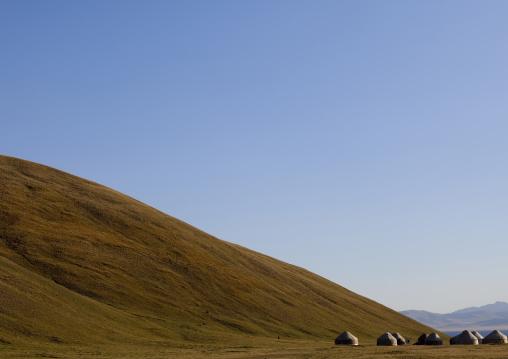 Yurts Of Jaman Echki Jailoo Village At The Foot Of A Hill, Song Kol Lake Area, Kyrgyzstan