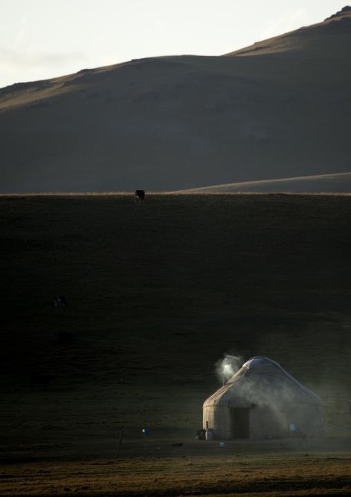 Smoking Yurt In Jaman Echki Jailoo Village, Song Kol Lake Area, Kyrgyzstan