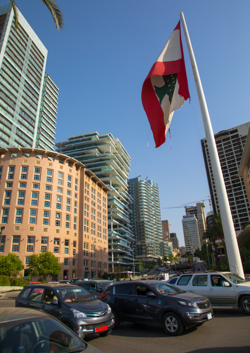 Giant lebanese flag in front of luxury residential buildings in central district, Beirut Governorate, Beirut, Lebanon