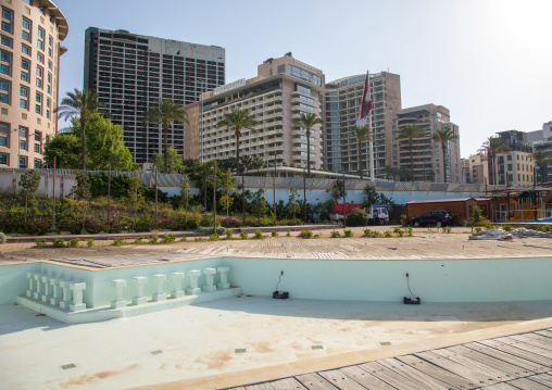 Empty pool in front of luxury residential buildings on the corniche, Beirut Governorate, Beirut, Lebanon