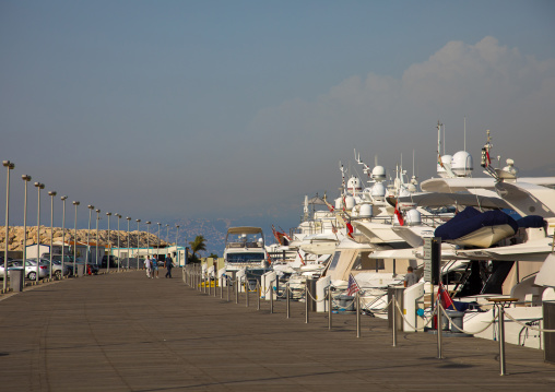 Luxury boats in marina yacht club, Beirut Governorate, Beirut, Lebanon