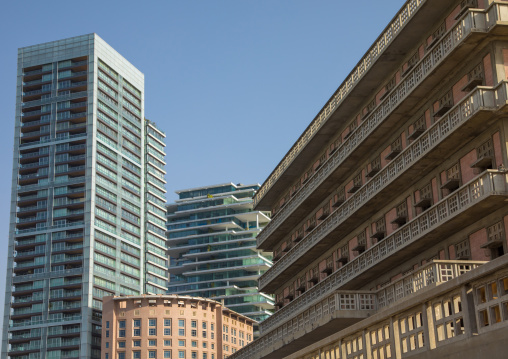 The iconic Saint Georges hotel in Ain Mreisse in front of brand new buildings, Beirut Governorate, Beirut, Lebanon