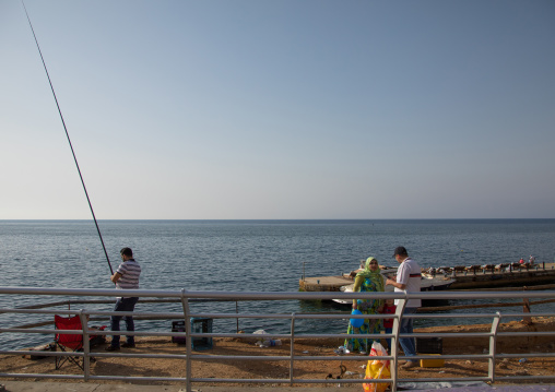 Man fishing in the corniche, Beirut Governorate, Beirut, Lebanon