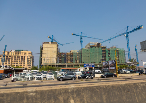 Cars shop in front of buildings under construction, Beirut Governorate, Beirut, Lebanon