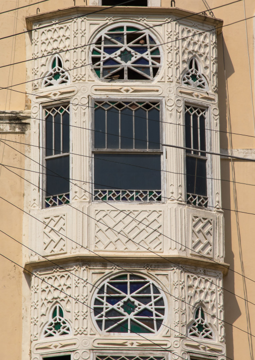 Traditional mashrabiya of an old building, North Governorate, Tripoli, Lebanon