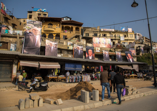 Shops in front residential apartments and housing, North Governorate, Tripoli, Lebanon