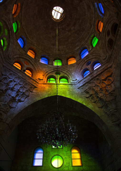 Inside al Bourtasi mosque with its beautiful coloured glass windows, North Governorate, Tripoli, Lebanon