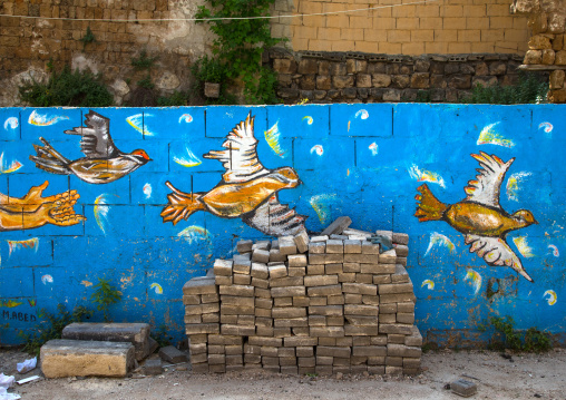 Doves of peace drawn on a wall in the street, North Governorate, Tripoli, Lebanon
