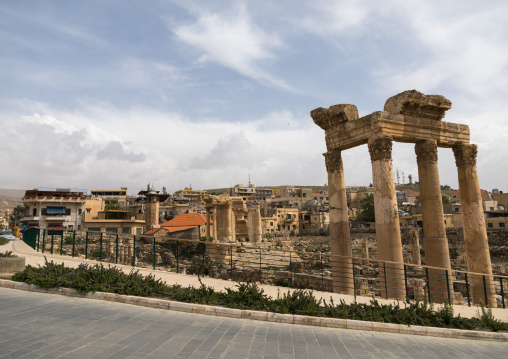 Antique ruins at the archeological site in the middle of the town, Beqaa Governorate, Baalbek, Lebanon