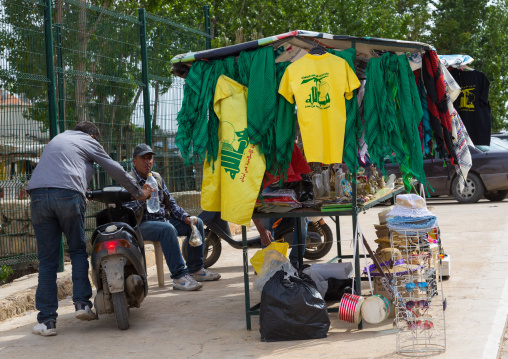 Tee shirts with Hezbollah logo for sale as tourist souvenir, Beqaa Governorate, Baalbek, Lebanon