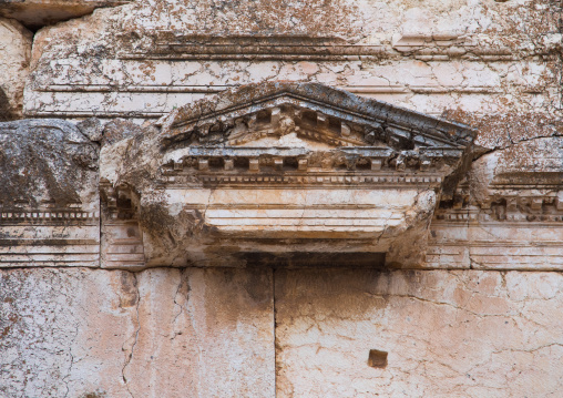 Detail of antique ruins at the archeological site, Beqaa Governorate, Baalbek, Lebanon