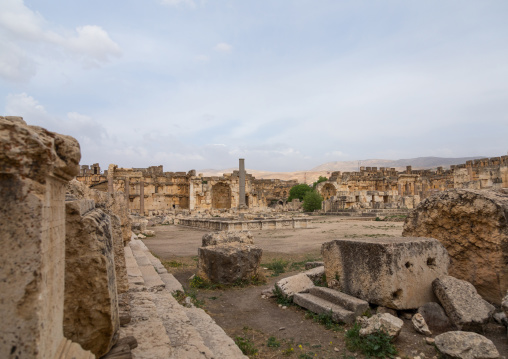 Antique ruins at the archeological site, Beqaa Governorate, Baalbek, Lebanon