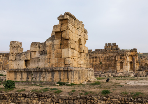 Ceremonial courtyard ruins at the archeological site, Beqaa Governorate, Baalbek, Lebanon
