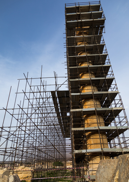 Scaffolding on the roman temple of Jupiter in the archaeological site, Beqaa Governorate, Baalbek, Lebanon