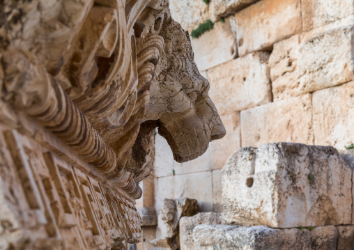 Lion head carving in the archaeological site, Beqaa Governorate, Baalbek, Lebanon