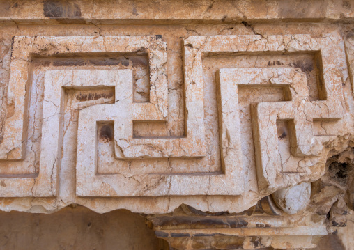 Cross carved in a stone in the archaeological site, Beqaa Governorate, Baalbek, Lebanon