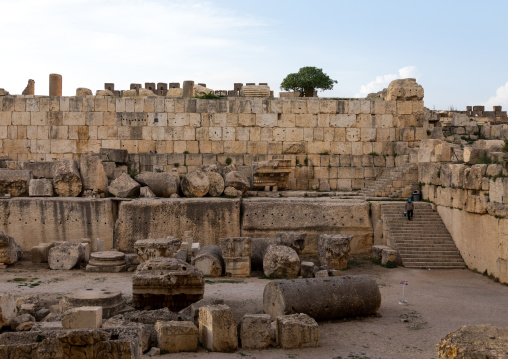 Back of the temple of Jupiter in the archaeological site, Beqaa Governorate, Baalbek, Lebanon