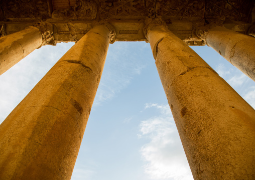 Columns  in the archaeological site, Beqaa Governorate, Baalbek, Lebanon