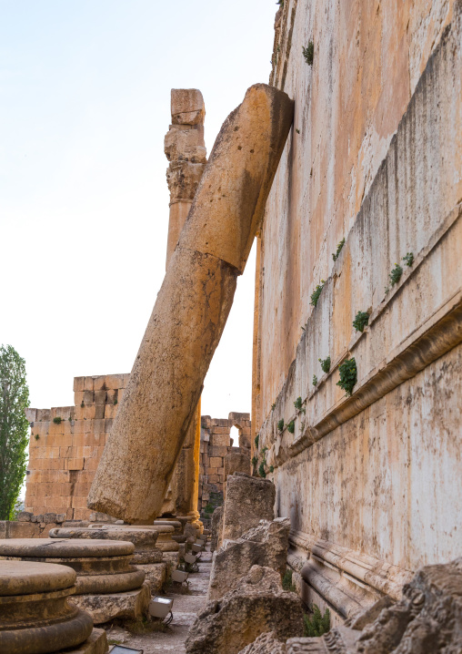 A column stands on the wall of the Jupiter temple after an earthquake, Beqaa Governorate, Baalbek, Lebanon