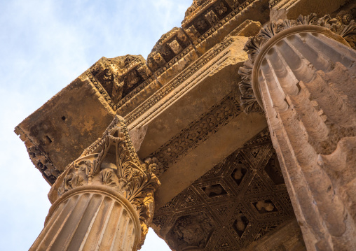 Corinthian capitals ornamenting the temple of Bacchus, Beqaa Governorate, Baalbek, Lebanon