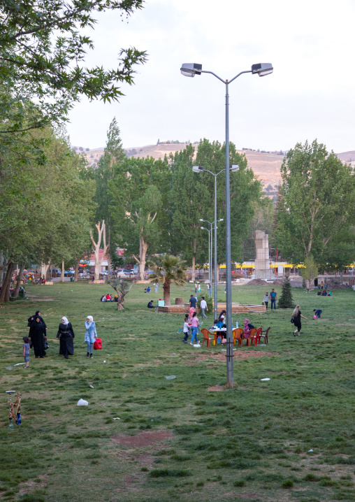 Families having rest in a park, Beqaa Governorate, Baalbek, Lebanon