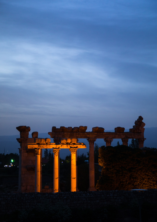 View on the ruins from the Palmyra hotel, Beqaa Governorate, Baalbek, Lebanon