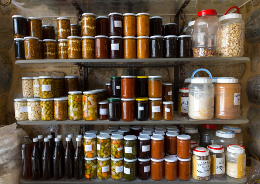 Store of pots of jam of different flavors and honey, South Governorate, Jezzine, Lebanon