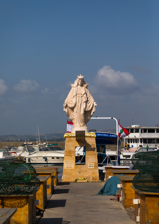 A statue of the virgin Mary sits in the fishing port, South Governorate, Tyre, Lebanon