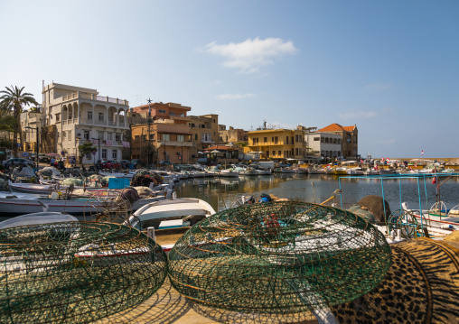 Fishing boats and nets in the port, South Governorate, Tyre, Lebanon