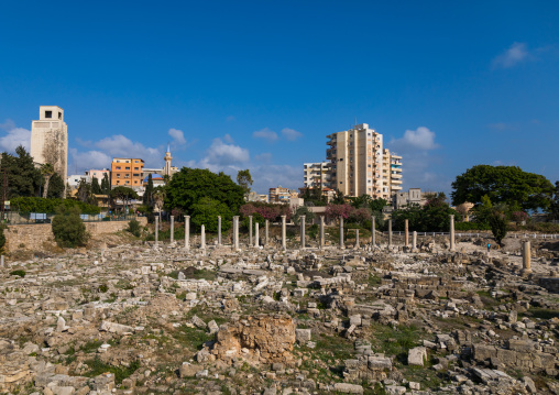Al-Mina archaeological site in front of new buildings, South Governorate, Tyre, Lebanon