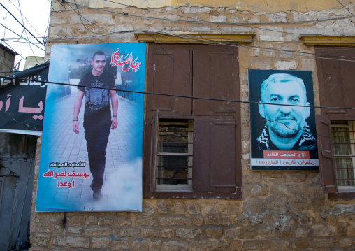 Martyrs pictures on a wall, South Governorate, Tyre, Lebanon