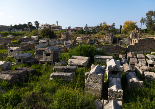 Old graves in the necropolis of El Bass archaeological site, South Governorate, Tyre, Lebanon