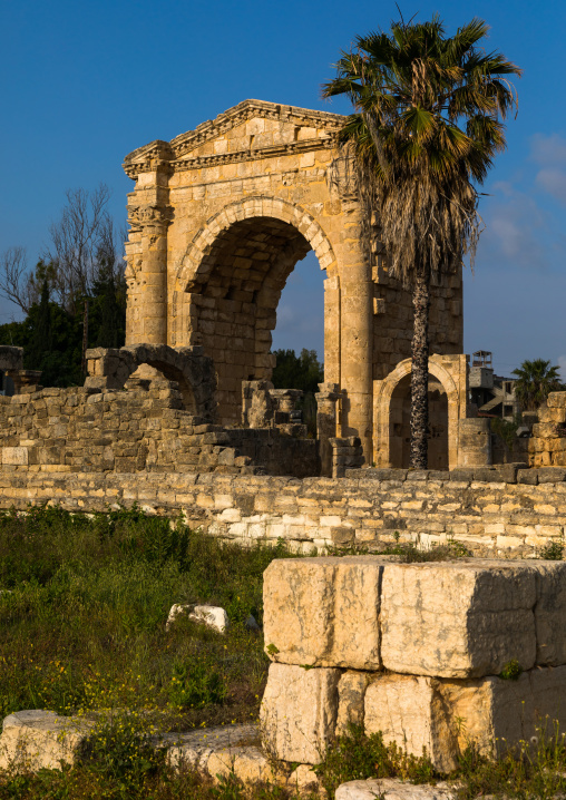 Roman triumphal arch in al Bass site, South Governorate, Tyre, Lebanon