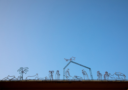 Nativity representaion made with wires on the roof of a house, South Governorate, Tyre, Lebanon