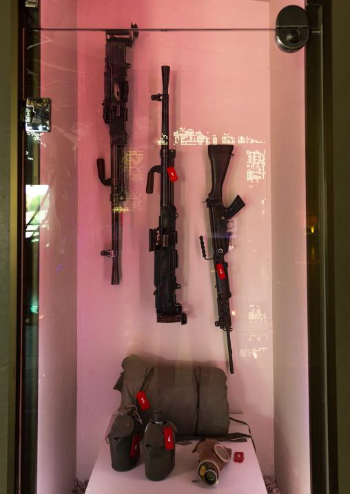 Israeli weapons in the war museum operated by Hezbollah called the tourist landmark of the resistance or museum for resistance tourism, South Governorate, Mleeta, Lebanon