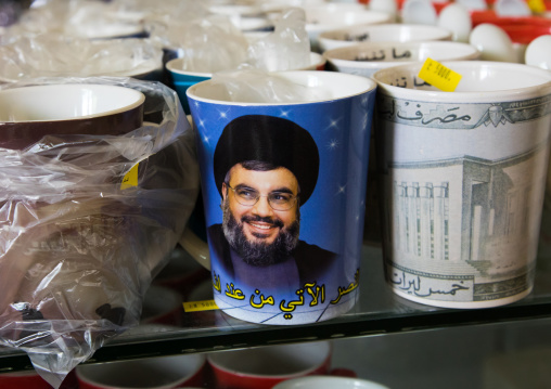 Sheikh Hassan Nasrallah mug in the hezbollah souvenirs shop in the tourist landmark of the resistance, South Governorate, Mleeta, Lebanon