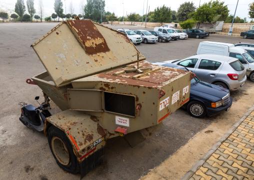 Israeli vehicule in the war museum operated by Hezbollah called the tourist landmark of the resistance or museum for resistance tourism, South Governorate, Mleeta, Lebanon