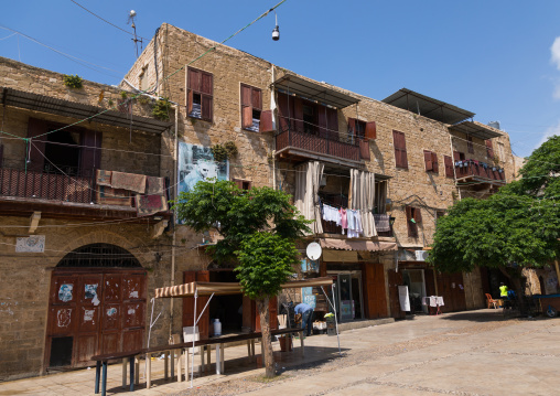 Old houses in the main square, South Governorate, Sidon, Lebanon