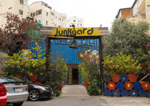 Junkyard cafe in Mar Mikhael made with containers and barrels, Beirut Governorate, Beirut, Lebanon