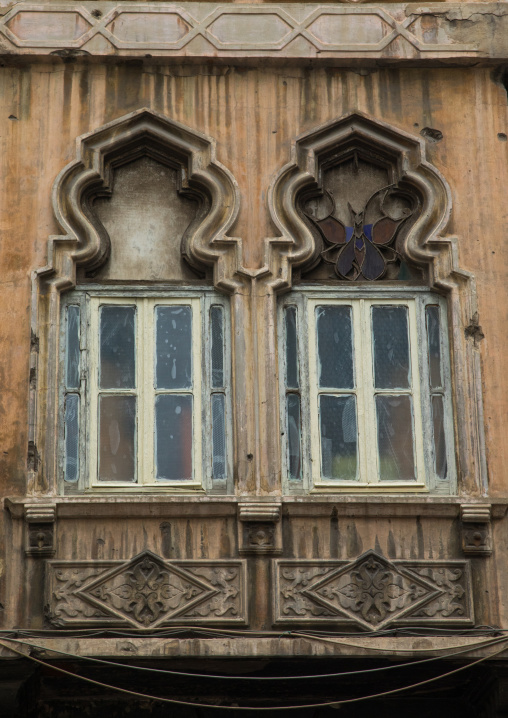 Traditional windows of an old building in Mar Mikhael, Beirut Governorate, Beirut, Lebanon