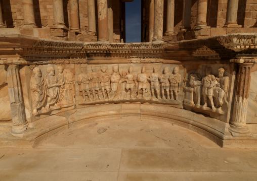 Bas relief below theatre in ancient roman city, Tripolitania, Sabratha, Libya