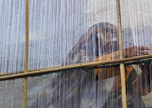 Woman making a carpet, Tripolitania, Ghadames, Libya