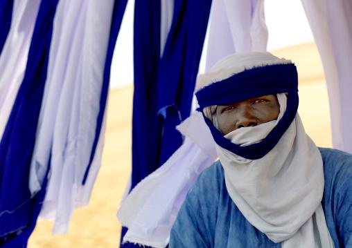 Portrait of a tuareg man selling turbans, Fezzan, Umm al-Maa, Libya